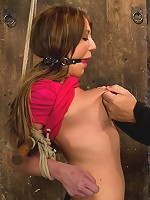 Amy Brooke is stripped, gagged, abusedNipple clamped, flogged, made to cum until she squirts