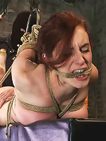 19yr old redhead with massive DD natural tits is hogtiedAnal hooked, finger fucked & made to cum